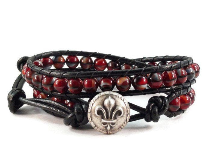 Black Double Leather Wrap Bracelet
