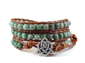 African Jade Leather Wrap Bracelet Celtic Sister Knot