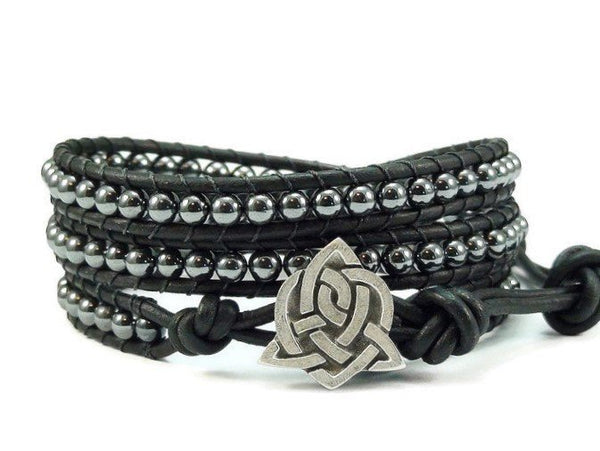 Celtic Sister Knot Leather Wrap Bracelet