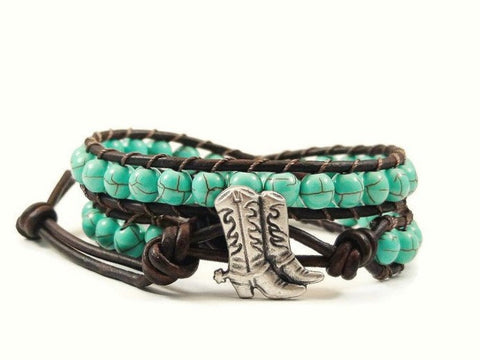Cowboy Boots Leather Wrap Bracelet