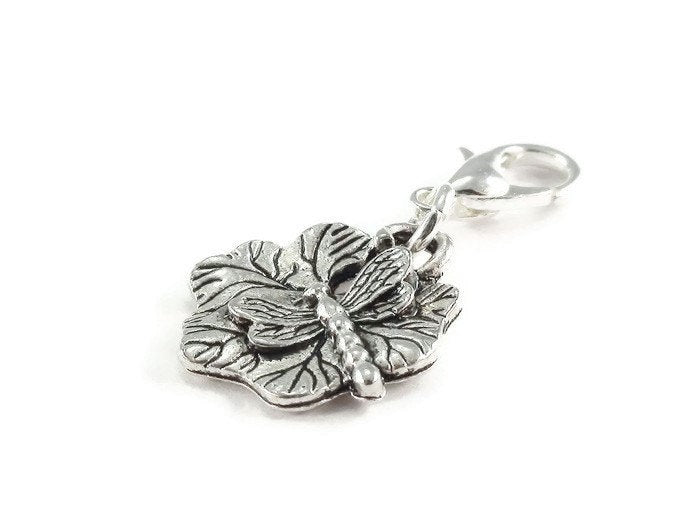 Dragonfly Lily Pad Clip On Charm