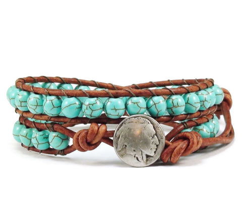 Indian Head Double Leather Wrap Bracelet