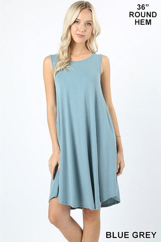 Sleeveless Round Hem Swing Dress with pockets