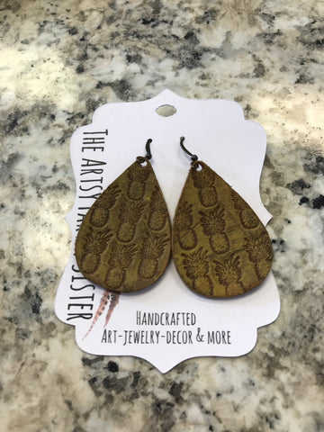 Hand-tooled yellow distressed pineapple leather earrings