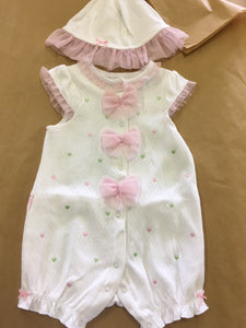2pc Pink Heart Romper