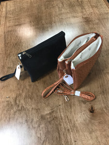 Faux Ostrich Leather Crossbody Cluches
