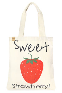 Sweet Strawberry Canvas Tote
