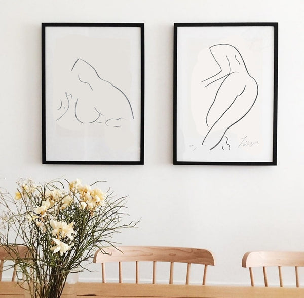 Sitting down nude (limited edition screen print) - By James Wilson