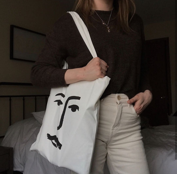 'Face' organic day bag - By James Wilson