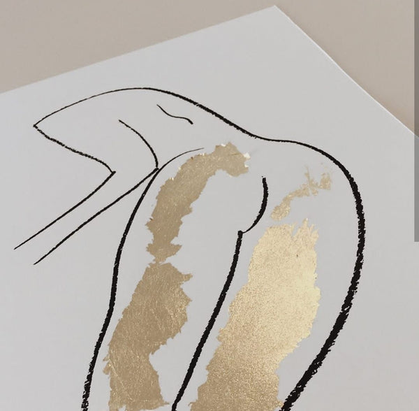 Standing in gold nude (limited edition screen print) - By James Wilson