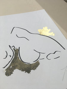 Laying down in gold nude (limited edition screen print) - By James Wilson