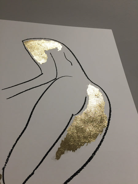 Standing in gold nude (limited edition screen print)