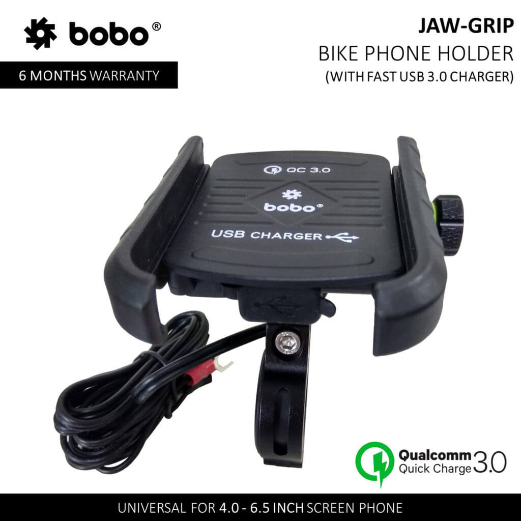 Jaw-Grip Motorcycle Mobile Mount With USB 3.0 Charger