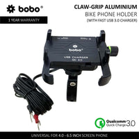 Bobo Claw-Grip Aluminum Motorcycle Mobile Mount With Fast USB 3.0 Charger