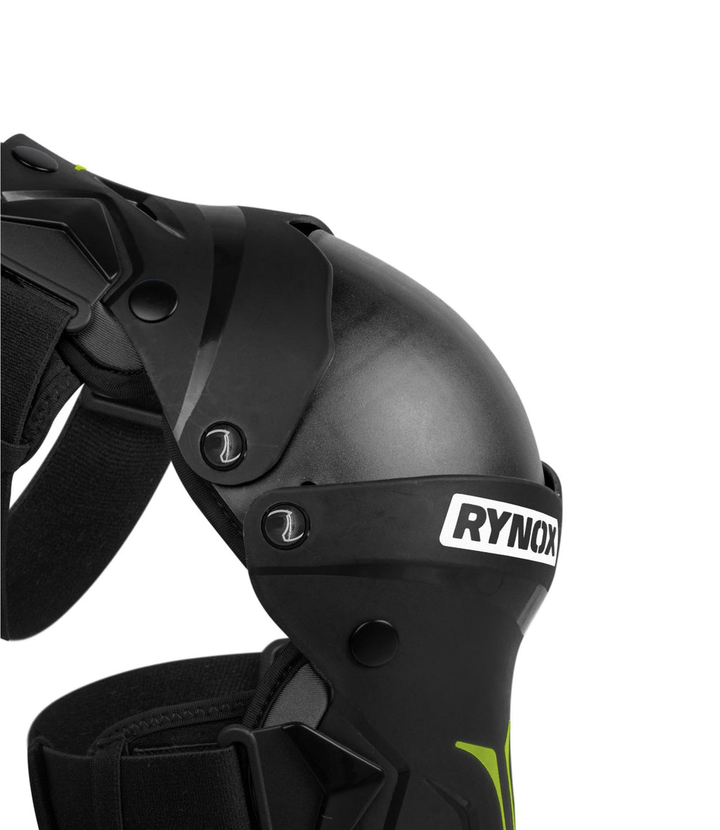 RYNOX BASTION BIONIC KNEE GUARDS - BLACK HI-VIZ GREEN