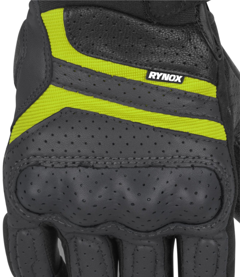 RYNOX AIR GT GLOVES GREY HI-VIZ GREEN