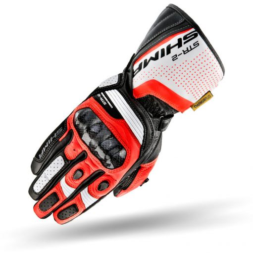 Shima STR-2 Full Gauntlet Gloves - Red Fluro