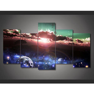 5 Panel Interstellar Cosmic Space Landscape Magnificent Home Wall Decor Canvas Picture Art HD Print Painting On Canvas Artworks
