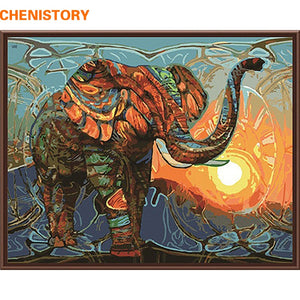 CHENISTORY Abstract Painting Africa Elephant Animals DIY Painting By Numbers Modern Wall Art Canvas Painting For Home Artwork
