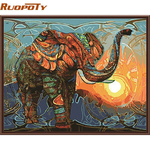 RUOPOTY Elephant DIY Painting By Numbers Animals Vintage Painting Acrylic Picture Home Wall Art Decor Unique Gift Wall Artwork