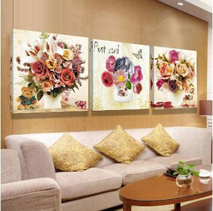 flower canvas print oil pictures modular painting on modern abstract paintings 3 pieces piece wall picture art work for bilder