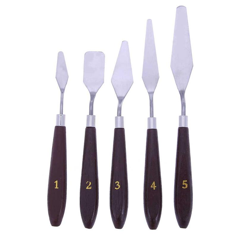 5Pcs/set Mixed Stainless Steel Palette Scraper Set Spatula Knives For Oil Painting Wooden Handle Paint Knife Art Supplies