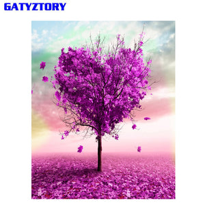 GATYZTORY Heart Tree DIY Painting By Numbers Romantic Calligraphy Painting Modern Wall Art Picture Home Decor 40x50cm Artwork