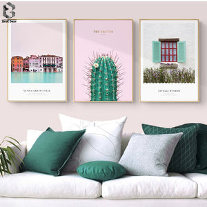 Dream Town Wall Art Posters and Prints, Nordic Canvas Painting for Living Room Decoration, Cactus Wall Picture Decor Artwork