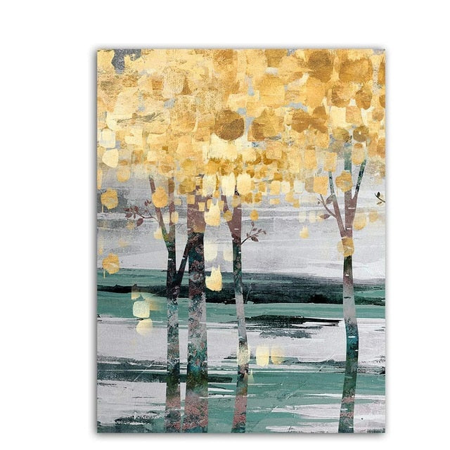 Large Abstract Painting Abstract Art Print Blue Turquoise Teal Golden Colorful Painting Vertical Wall Art Fluid Artwork