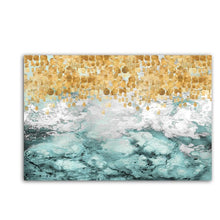 Load image into Gallery viewer, Large Abstract Painting Abstract Art Print Blue Turquoise Teal Golden Colorful Painting Vertical Wall Art Fluid Artwork