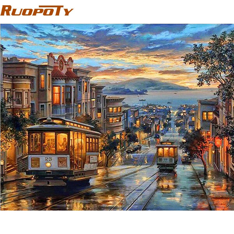 RUOPOTY Frame City Night Bus Diy Oil Painting By Numbers Landscape Modern Wall Art Canvas Painting Unique Gift Wall Artwork