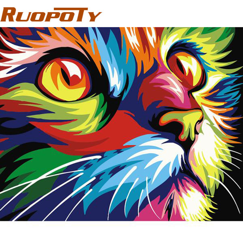 RUOPOTY diy frame Picture Cat Diy Painting By Numbers Modern Wall Art Picture Handpainted Home Decor Artworks 40x50cm Box Send