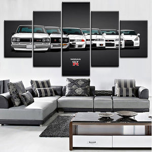 Canvas Painting HD Print Modular Artwork Modern 5 Pieces Nissa Skyline Gtr Car Pictures Home Decorative Wall Art Unique Poster