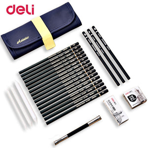 Deli 26pcs/pack professional sketch set for school art supply paper eraser charcoal pencil extender canvas bag kids drawing gift