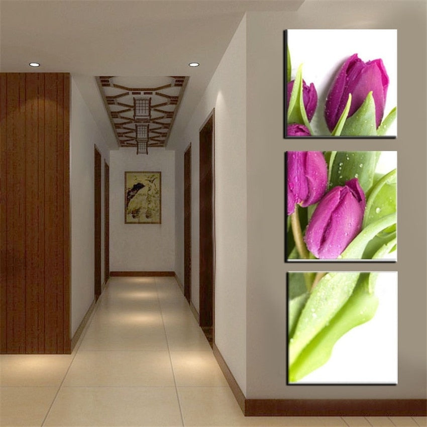 BANMU Wall Art Picture Canvas Photo Prints on flower Tulip Canvas Paintings Wall Artwork Giclee Paintings Home Decor no frame