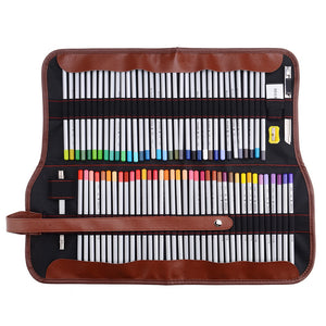 Marco Raffine Fine Art Colored Pencils 72-Color+Rubber Eraser Set+Roll UP Washable Canvas Pencil Bag Easy Carrying