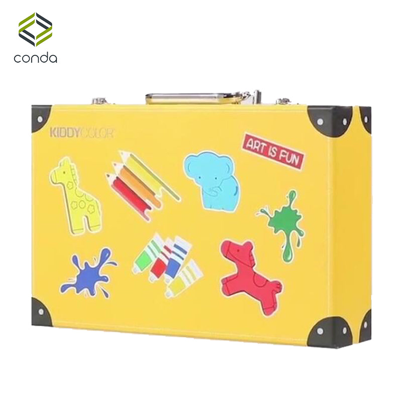 Conda 159pcs/set Deluxe Art Set for Kids in Colorful Paper Case Children Student Art Supplies Crayon Watercolor Oil Painting Set