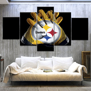 5 Panel HD printed painting Modular Canvas Wall Art Pittsburgh Steelers Gloves Sport Poster Modern Home Decor Artwork