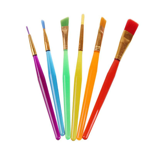 6 PCS Plastic Handle Candy Paint Brush Set for Children