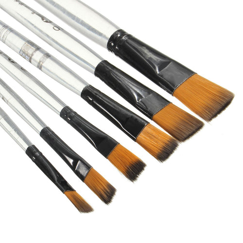 6pcs Artist Paint Brush Set Nylon Watercolor Plastic Acrylic Oil Painting Supply