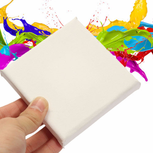 10x10cm White Blank Stretched Square Canvas Wooden Case For Art Artist Painting