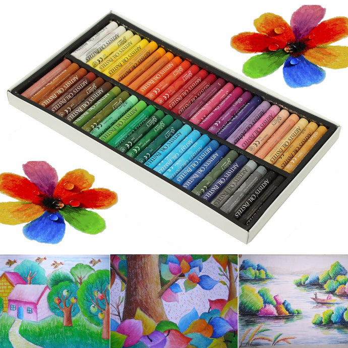 50 Color Set Waterproof Arts Oil Pastels Graffiti Brush Drawing Painting Art