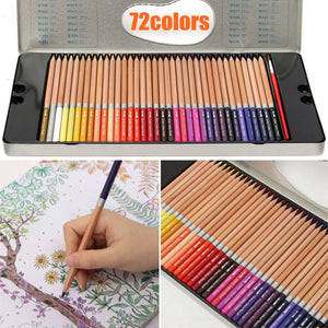 72 Color Set Art Drawing Painting Pencils Pens Artists Paint Tool Metal Box Gift