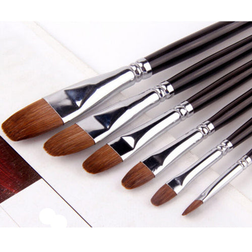 6pcs Set Art Paint Brush Filbert Sable Long Wood Handle Oil Acrylic Watercolor