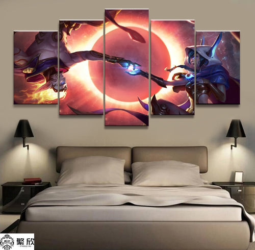 5 Panel LOL League of Legends Xayah/Rakan Game Canvas Printed Painting For Living Room Wall Art Decor HD Picture Artworks Poster