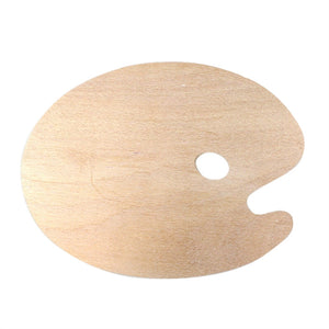 Oval Shaped Wooden Palette with Comfortable Thumb Hole for Acrylic Watercolor and Oil Paints