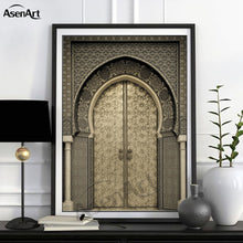 Load image into Gallery viewer, Modern Art Wall Ancient Gate Morocco Canvas Painting Posters Artwork Pictures Printed for Living Room Bathroom Home Decoration