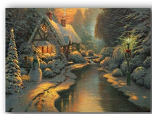 Load image into Gallery viewer, Christmas winter snow night cottage with river artwork wall picture led canvas art light up oil painting HD printed home decor
