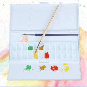 24Grid Large Art Painting Paint Tray Artist Oil Watercolor Plastic Palette White