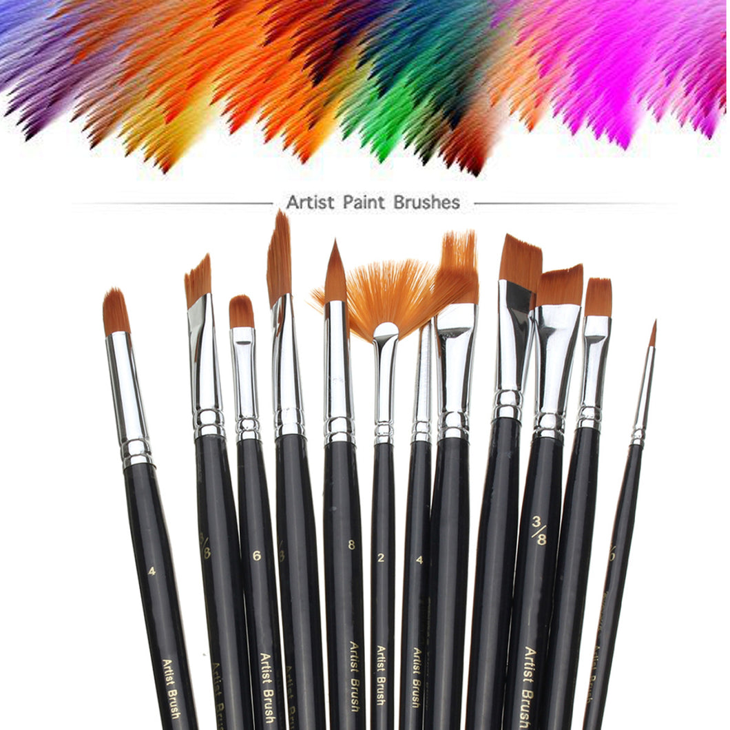 12pcs Nylon Hair Art Paint Brush Set Artist for Acrylic Watercolor Oil Painting